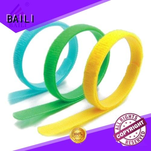 BAILI wrap tie nylon hook and loop fasteners supplier for cable ties
